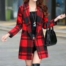 Women's Plaid Woolen Coat New Winter Slim Temperament Wool Coats Female Long Overcoat Lapel Coat Jacket Women C1221