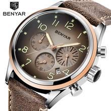 Benyar hommes montre Sport montre étanche chronographe montre hommes en cuir montre bracelet hommes horloge mâle hodinky erkek kol saati