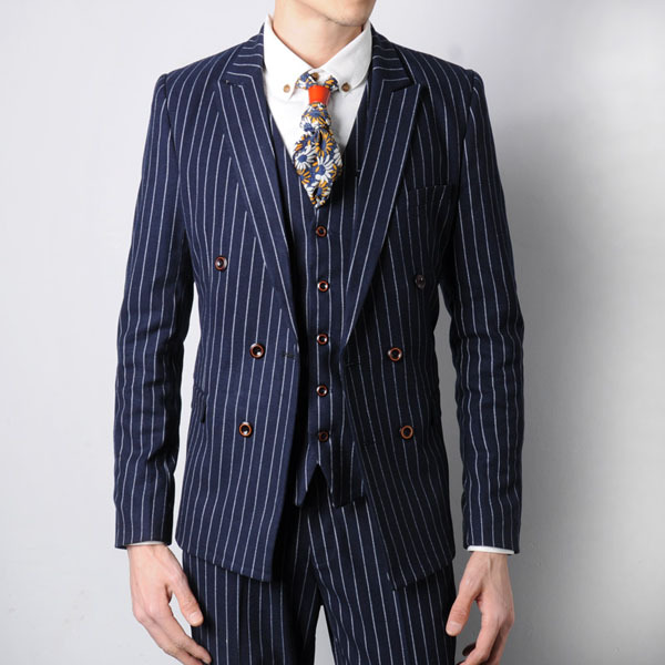 Free shipping 2015 new arrival studio apparel vintage england style striped suit men double breasted wedding