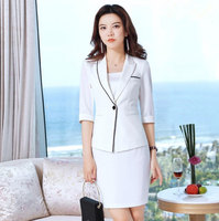 Ladies Black White Pink Yellow Skirt Suit for Women Work Wear Summer Blazer Skirt Set 2 Piece Office Uniforms Outfit Skirt Suits
