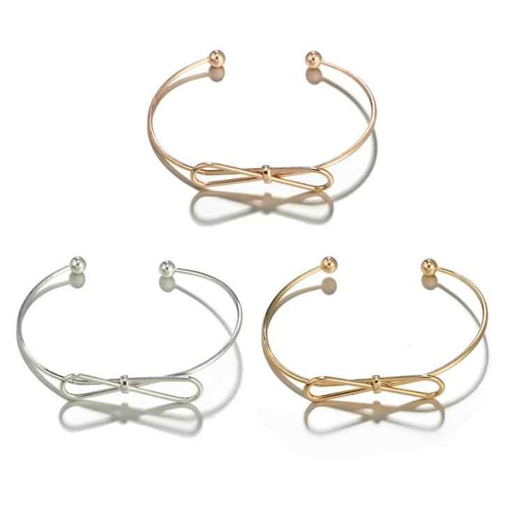 2018 new Infinity Loving Knotted Open Cuff Bangle Simple Modern Girls Cute Daily Wear Unique Boho Alloy Cuff Bracelet Gift