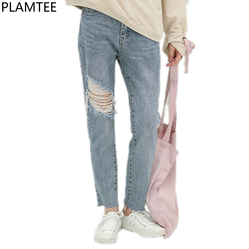 PLAMTEE High Waist Jeans For Women Ripped Denim Pants Female Hole Ankle-Length Jean Trousers Feminina Skinny Autumn Pantalon New fashion high waist jeans ankle length denim pants ripped hole jeans casual summer women jeans denim pants jean new tt1138