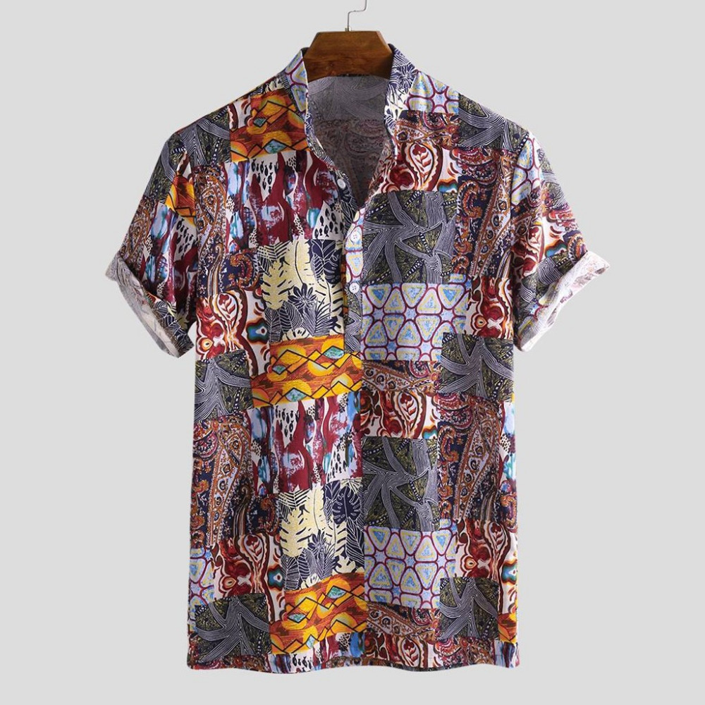 2019 men\`s cotton short-sleeved button-down shirt luxury summer shirt men short sleeve plus size outdoor sports shirt 40J11 (5)