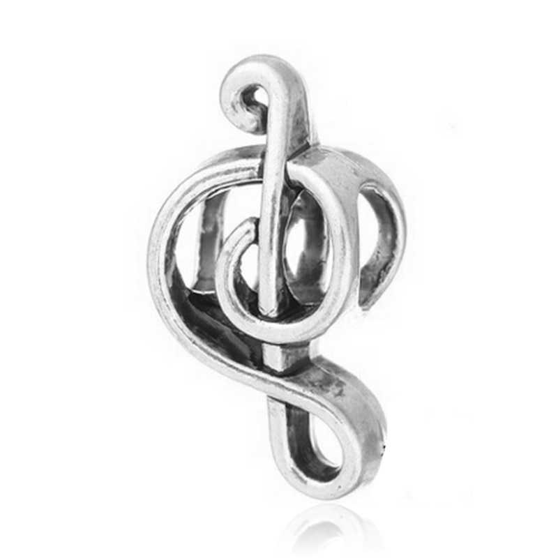 Free Shipping 1PC Silver Plated Music Note Bead Charms fit Pandora European Style Charm Bracelets