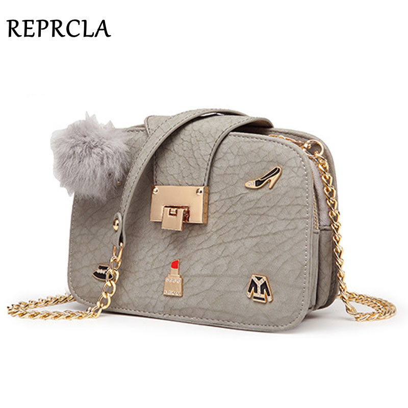 REPRCLA Hot Three Layers Women Messenger Bags Chain Flap Shoulder Bags Crossbody Lady Handbags Clutch With Hairball 2017 hot fashion women bags 3d diamond shape shoulder chain lady girl messenger small crossbody satchel evening zipper hangbags