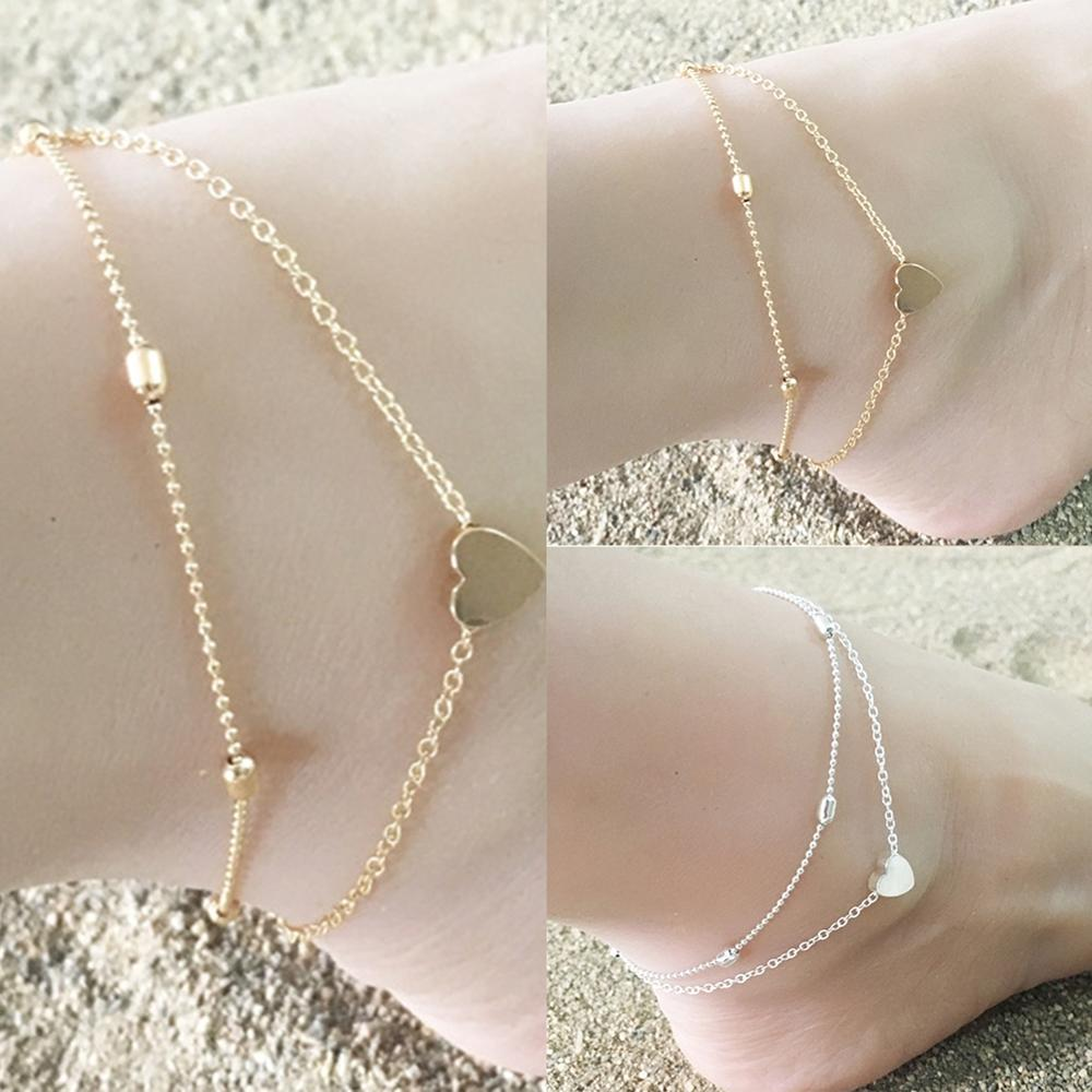 imixlot New Fashion Beach Jewelry Sexy Gold Love Heart Ankle for Women Bracelet Double Chain Foot Ankle Jewelry Gift in Anklets from Jewelry Accessories