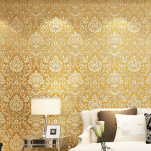Thick gold 3D non-woven wallpaper European three-dimensional relief wallpaper Bedroom living room TV background wall sticker wallpaper eco friendly non woven 3d three dimensional sculpture fashion wallpaper tv background wall wallpaper