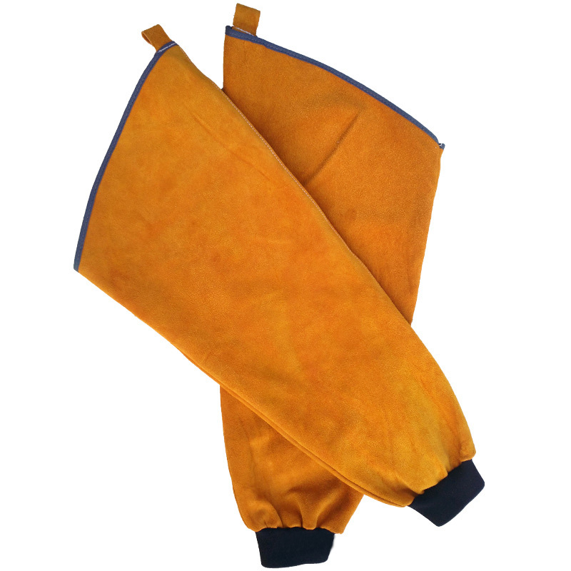 Yellow Leather Heat Resistant Welding Arm Sleeves Button Closure Safety Work Spark Resistant Protection Arm Guard