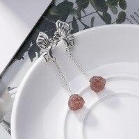 Crystal 925 Sterling Silver Drop Earrings For Women Elegance Beauty StrawBerry Quartz Gemstone Earrings Fine Jewelry Wholesale