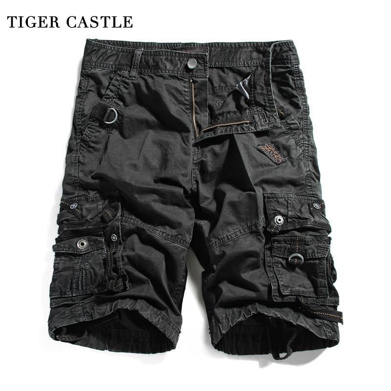 TIGER CASTLE Men Casual Beach Shorts Stylish Multi Pocket Men's Cotton Short Cargo Tactical Beach Man Baggy Shortpants
