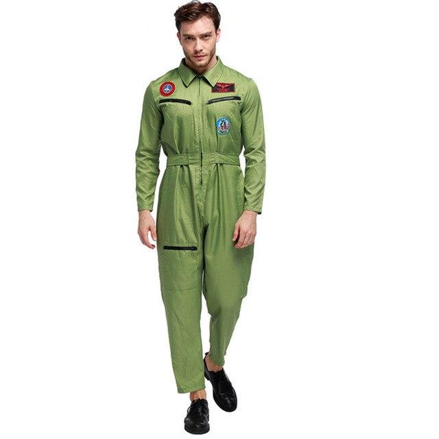 973ae763a80 Men Astronauts Air Force Pilot Astronaut Uniforms Halloween Pilot Army  Soldier Military Uniform Army Green Paratrooper Jumpsuit