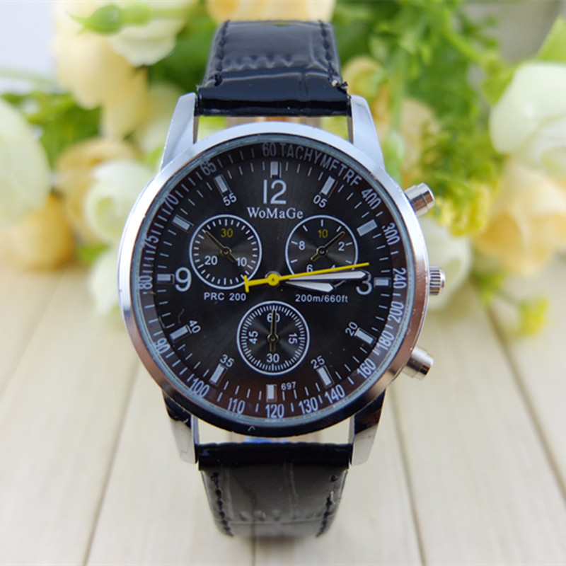 WOMAGE  Three Eye Six Pin Leather Watch Ladies Watch Ladies Sports Quartz Watch Leather Student's Wristwatches Women Dress Watch