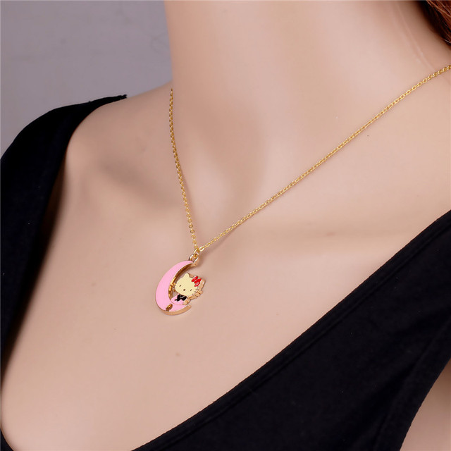 3e083d40a 2016 New arrival choker Moon Boat Hello Kitty Necklace Pink Pendant Fashion  Simple Short necklace Gold-plated Chain jewelry