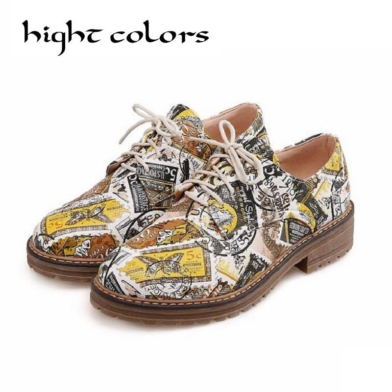 Fashion Retro Printing Leather Oxford Shoes For Women Flats Lace Up Causal Brogues Shoes Low Heel Ladies Shoes Zapatos Mujer timetang genuine leather shoes woman ballet flats oxford shoes for women lace up flat shoes four seasons fashion zapatos mujer