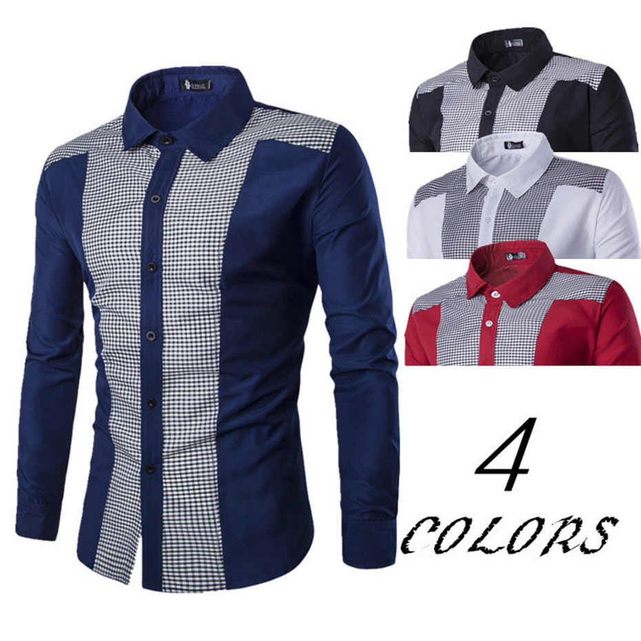 1c454aab Zogaa Men Shirts New Arrivals Slim Fit Male Shirt Solid Long Sleeve British  Style Cotton Men's