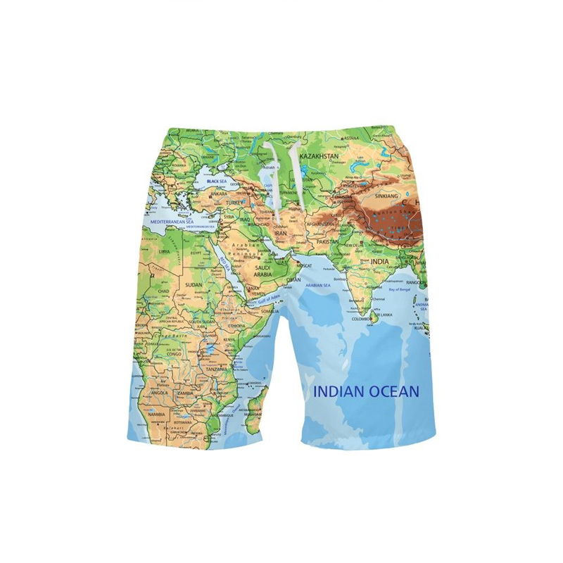 2019 Map Print Beach   Shorts   Swimwear Trunks   Board     Short   Quick Dry Pants Swimsuits Mens Running Gym Sports Surffing   Shorts   Homme