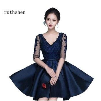 2f4767edef Ruthshen dulce corta de la longitud de la rodilla Vestidos de cóctel mitad  mangas de encaje apliques cuello en V Vestidos Cocktail 2018