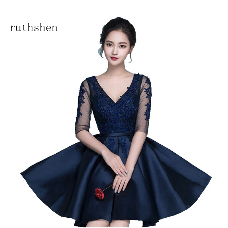 ruthshen Sweet Short Knee Length   Cocktail     Dresses   Half Sleeves Lace Appliques V Neck Vestidos Coctel 2018