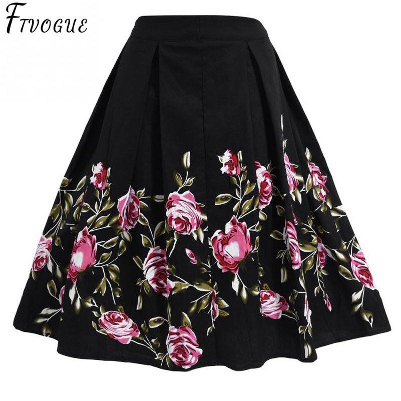 Treu Floral Vintage Plus Size Schaukel Rock Schwarz Plissee Retro Femme Blumen Drucken Midi Röcke Für Frauen Hohe Taille Baumwolle Eine Linie Rock