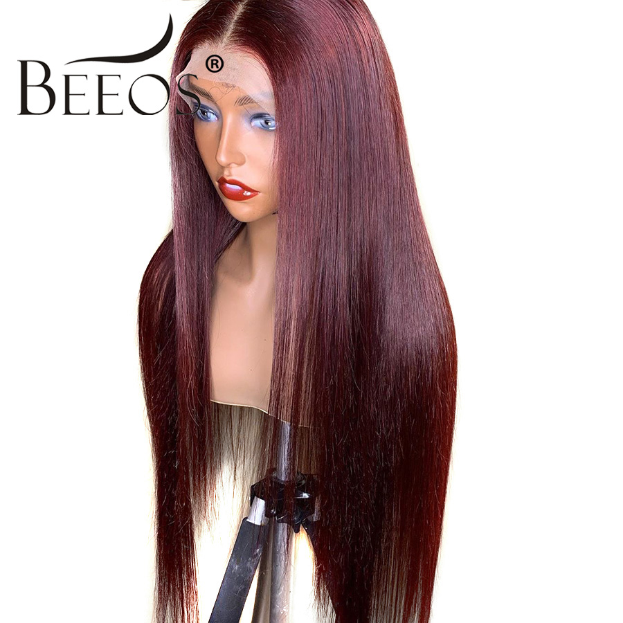 Beeos Burgundy 99J 13*6 Lace Front Human Hair Wigs With Baby Hair Straight Pre Plucked Brazilian Remy Deep Part For Women