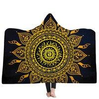EHOMEBUY 2019 New Arrival Blanket 3D Blanket Religious Pattern Hooded Blanket Home Adult Wearable Lotus Warm Thread Blankets