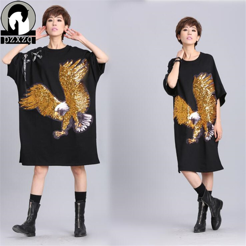 2018 Brands Gold New Summer <font><b>T</b></font> <font><b>Shirt</b></font> <font><b>Dress</b></font> Women <font><b>Rock</b></font> Hip Hop Casual Party Short Sleeve <font><b>Dresses</b></font> Eagle Sequin Print Vestidos <font><b>Dress</b></font> image