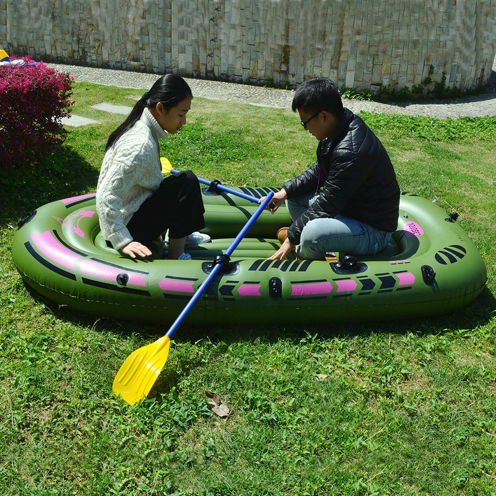 1 Set 2-3 Person Inflatable PVC Rubber Rowing Boat with Paddles 230cm*137cm for Stream River Lake Drifting Russia Local Delivery rowing boats rubber boat kit pvc inflatable fishing drifting rescue raft boat life jacket two way electric pump air pump paddles