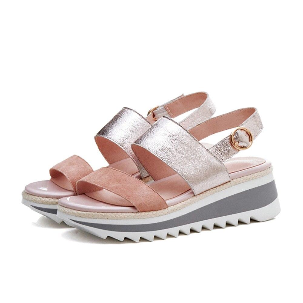 Cuero Verano 2018 Cuñas Rosado Del Nuevos Simple Hebilla De Plataforma Mujeres plata Morazora Casual Zapatos Genuino Sandalias I4wYpxx
