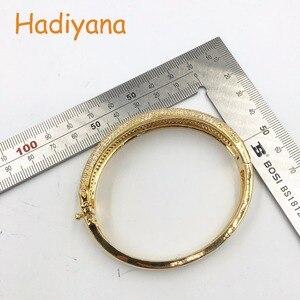 Image 5 - Женский сверкающий Большой браслет HADIYANA, сияющий кубический цирконий, комплект из 2 предметов, браслет и кольцо в подарок для специальной женщины, SZ028