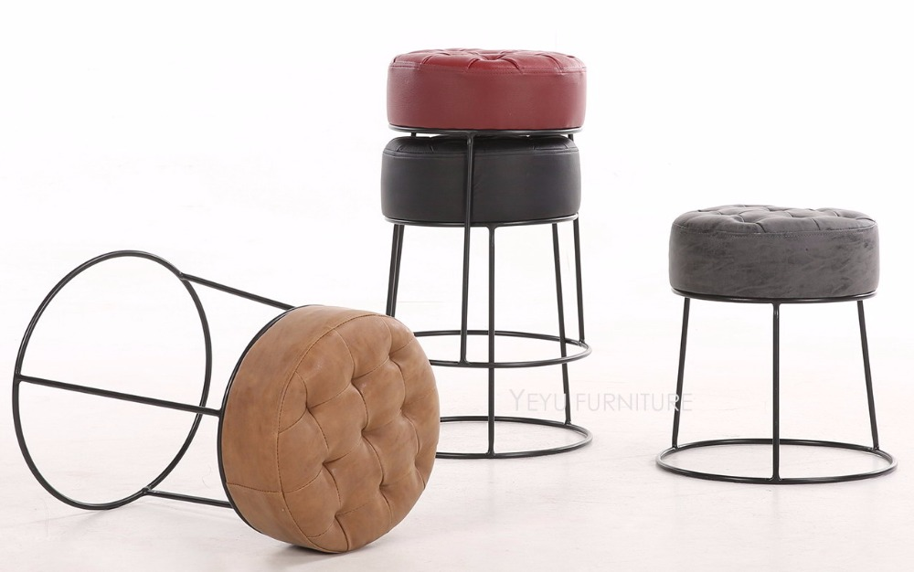Modern Design Stackable Metal Leather Soft Cover Low Stool