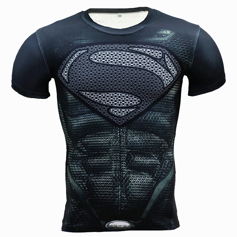 New Fitness Compression Shirt Miesten Anime Superhero Punisher Skull Captain Americ 3D T-paita Bodybuilding Crossfit t-paita