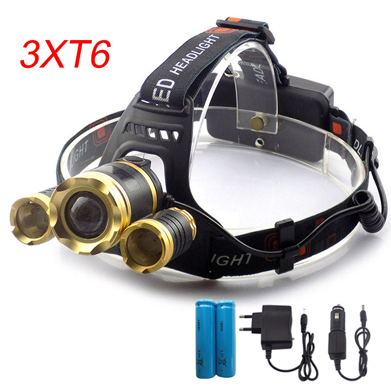 Powerful LED Headlamp Zoomable Focus Frontale LED Head Lamp Flashlight Torch Headlight +Car charger +Home charger +18650 battery boruit b22 powerful led flashlight headlamp usb waterproof rechargeable led head headlight torch lamp with 18650 battery charger