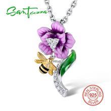 Серебряный кулон цветок Для женщин разноцветной эмалью белый кубический цирконий Камни Для женщин подвеска партия Модные украшения ручной работы
