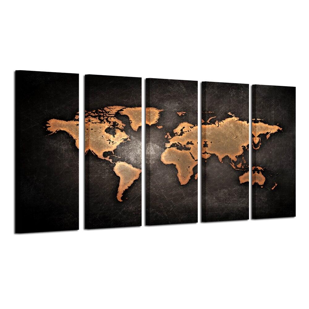 Xlarge carte du monde 5 panneaux toile œuvre toile décor mural Vintage affiche pour la maison chambre décoration 30x80cmx5pcs