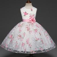Cute White Pink Candy Printed Floral Flower Girl Dresses O Neck Pageant Dresses For Girls Soft
