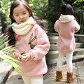 Дети девочек шерпа кофты вышитым узором девочек зимний пиджаки розовый 1203