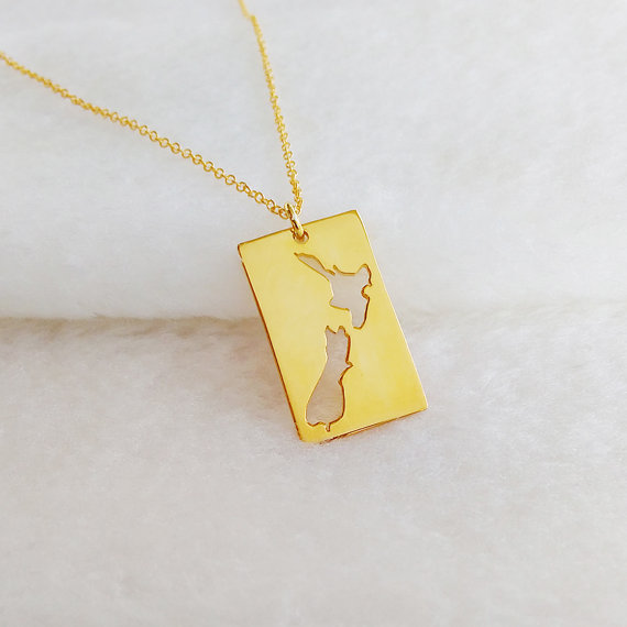 10PC New Zealand Country Map Necklace Worldwide Tropical Island Auckland Australian Trip Souvenir Vacation Necklaces