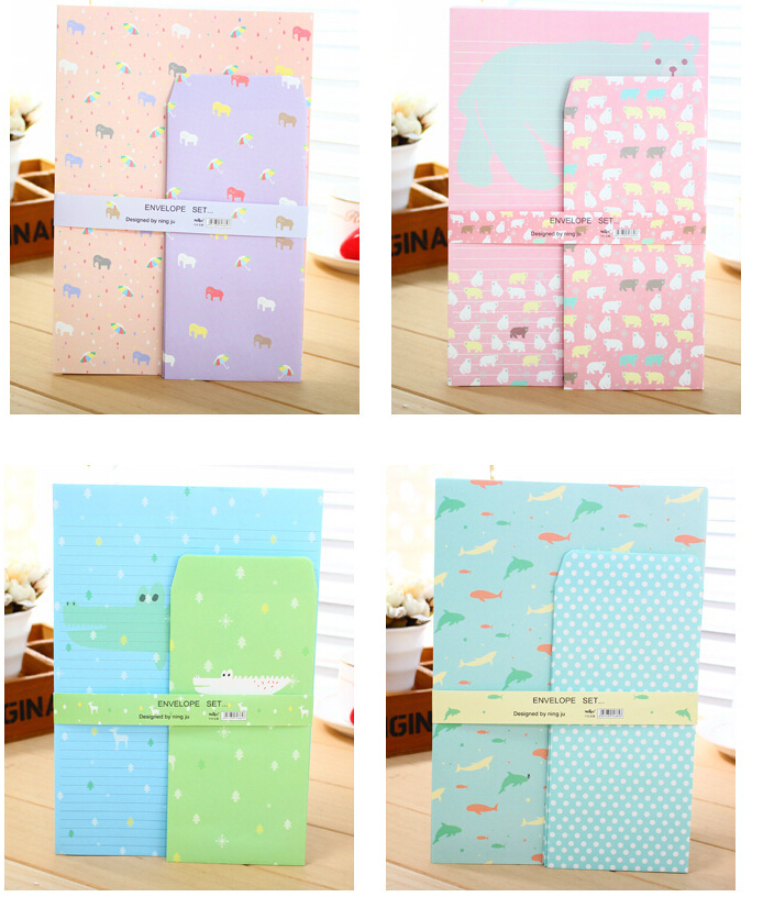cute cartoon stationery envelopes letter paper set writing paper letter pad 20 sets lot free shipping in letter pad paper from office school supplies