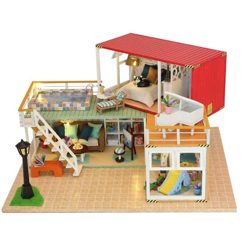 DIY Handmade Container Doll House Wooden Miniature DollHouse Furniture Kit Doll Home Toys for Children Birthday Gift TH500 wooden handmade dollhouse miniature diy kit caravan