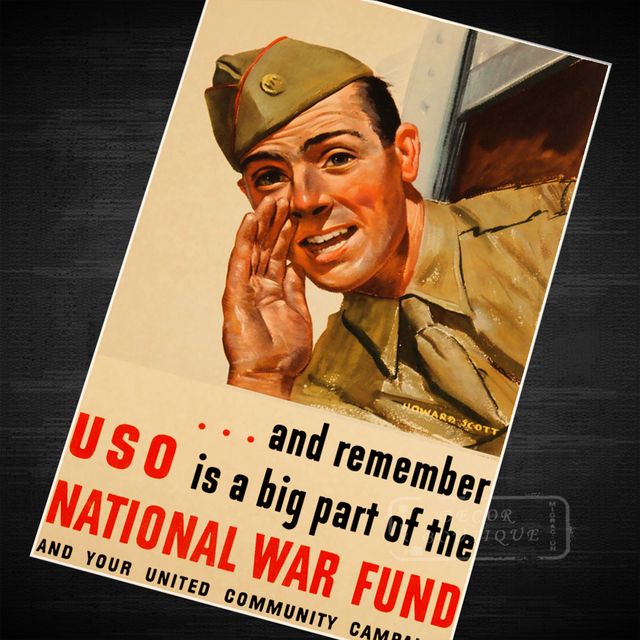 US $3 98 |USO Big Part National War Fund WWII WW2 Propaganda Poster Vintage  Retro Canvas DIY Wall Stickers Home Posters Art Bar Decor-in Wall Stickers