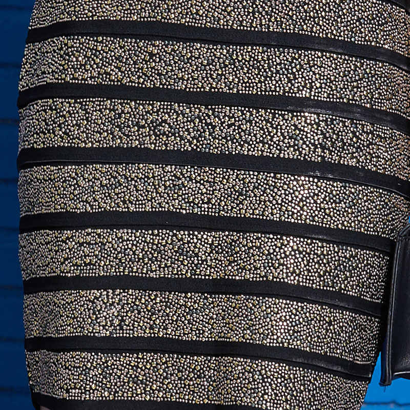 Женское сексуальное обтягивающее платье без бретелек с золотыми заклепками и бисером в полоску, эластичные вечерние мини-платья vestidos