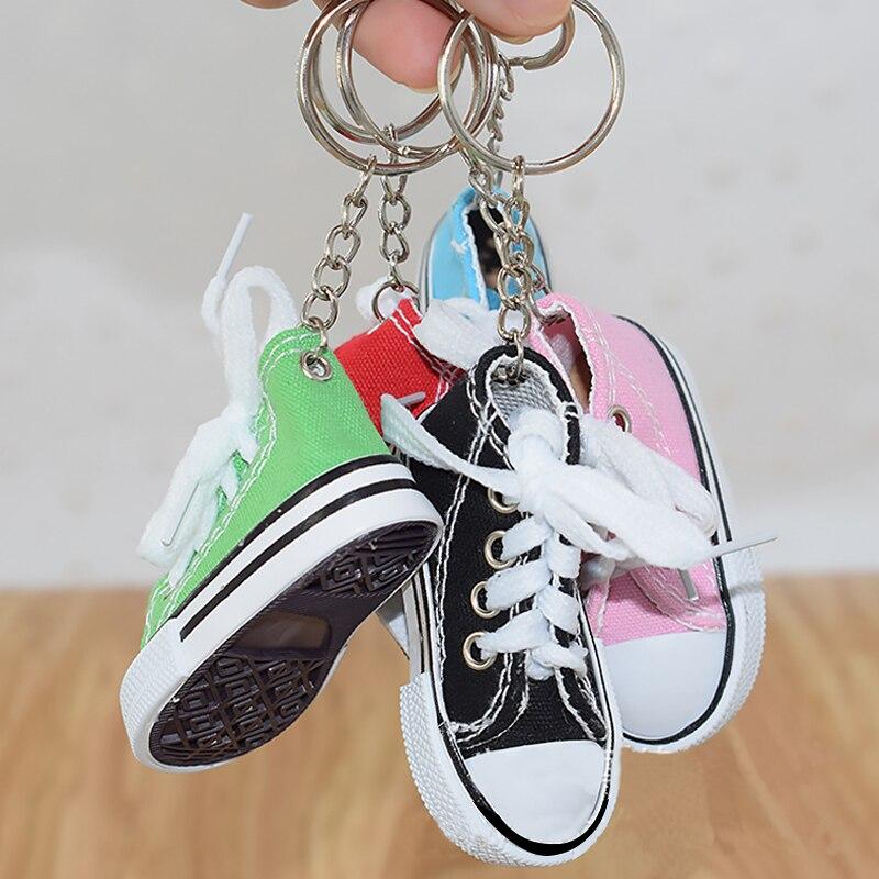 1 Pc Mini Leinwand Schuhe Sneaker Tennis Keychain Kreative Schlüssel Ring Kette Simulation Sport Schuhe Lustige Schlüsselring Anhänger Geschenk