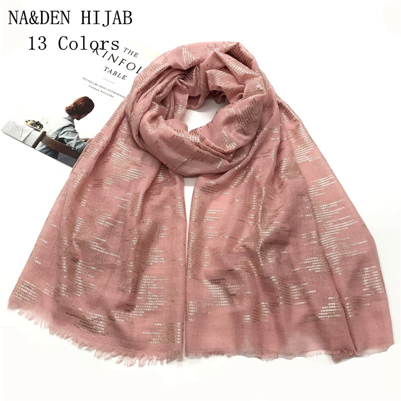New Fashion Solid Sequin 13 Colors Foil Gold Scarves Circle Rings Neckerchief Wraps Ladies soft islamic