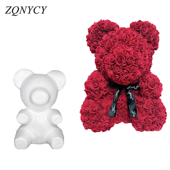 Image of 1Pcs Polystyrene Styrofoam White Foam Bear Mold Artificial Flower Head Rose Teddy Valentine's Day Gifts Party Wedding Decoration