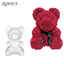 1Pcs Polystyrene Styrofoam White Foam Bear Mold Artificial Flower Head Rose Teddy Valentine's Day Gifts Party Wedding Decoration(China)