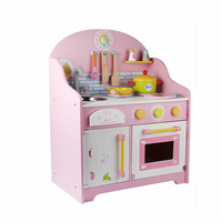 Simulation Wooden Kitchen Kids Toys Japanese Kitchen Style Pretend Play Cooking Stoves with Sound Storage Drawer Girls Playset