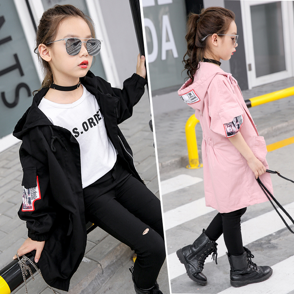 Kids Coats For Girls Spring Autumn Trench Children Outerwear Fall Girls Windbreaker 8 10 12 14 Years Teenage Kids Jackets цена 2017