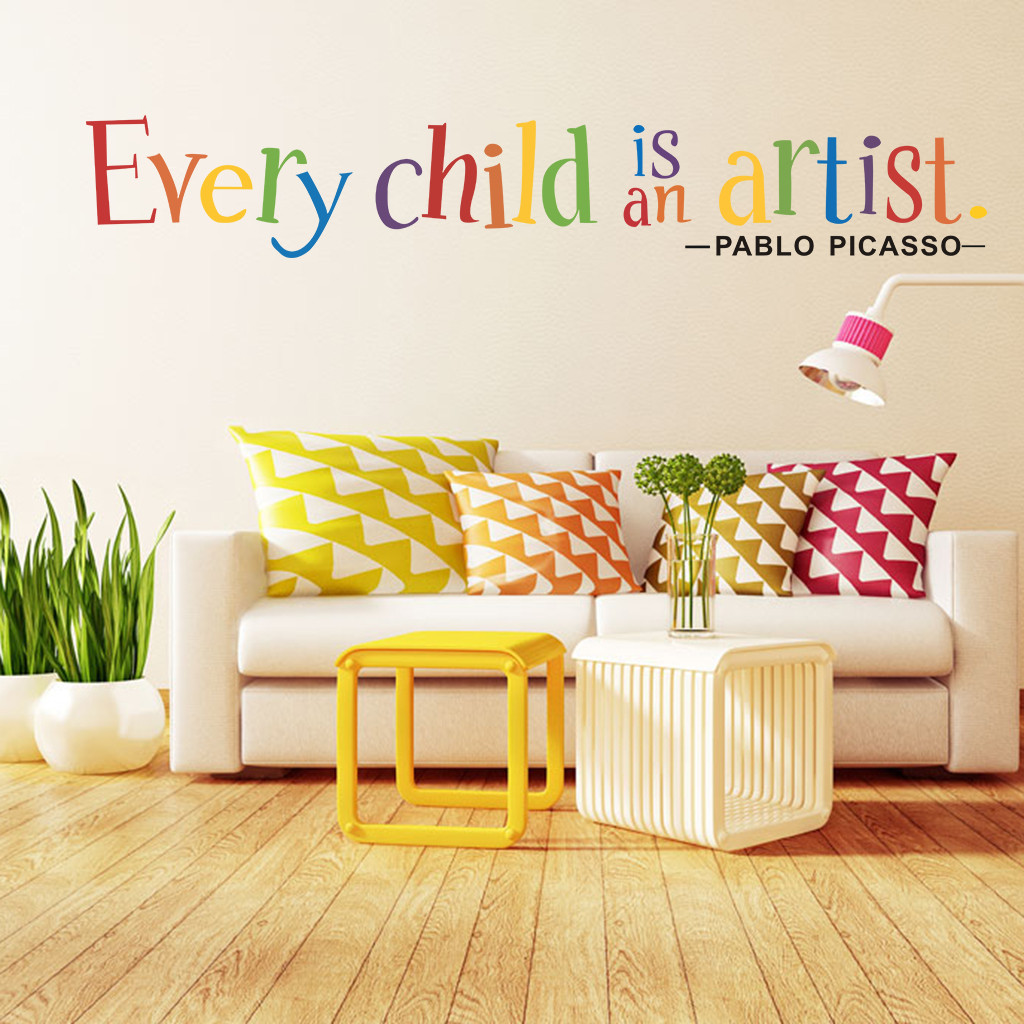 Multicolor Alphabet Phrase Wall Sticker Every Child is an Artist ...