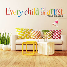 Multicolor Alphabet Phrase Wall Sticker Every Child is an Artist Removable Art Vinyl Mural Home Kindergarten Decor Wall Stickers(China)
