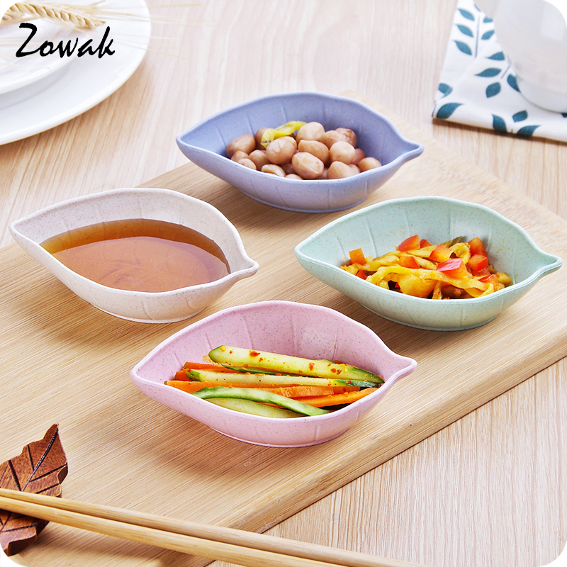 4pcs sauce dish leaf shaped dinnerware seasoning bowls appetizer sugar salt flavor spices plate container sushi - Horderves Plates
